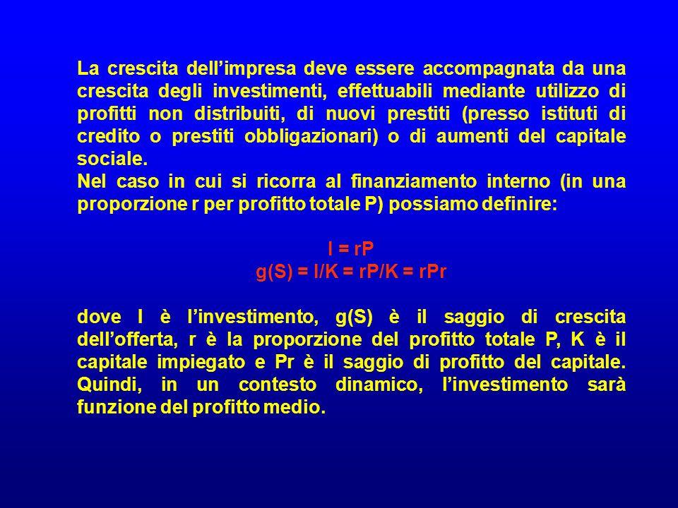 La crescita dellimpresa deve essere accompagnata da una crescita degli investimenti, effettuabili mediante utilizzo di profitti non distribuiti, di nu