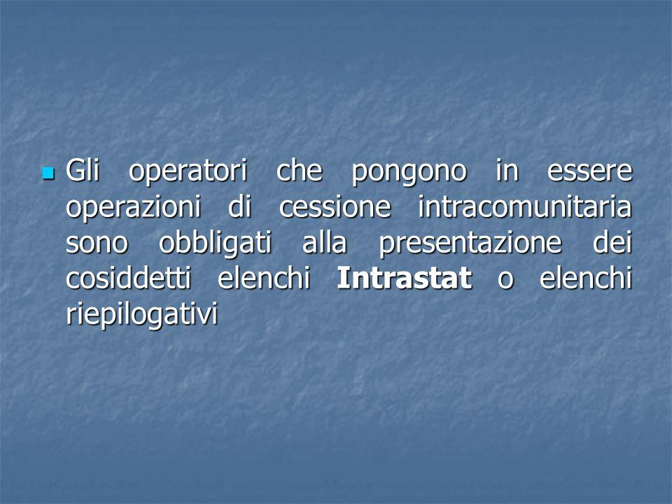 Gli operatori che pongono in essere operazioni di cessione intracomunitaria sono obbligati alla presentazione dei cosiddetti elenchi Intrastat o elenc