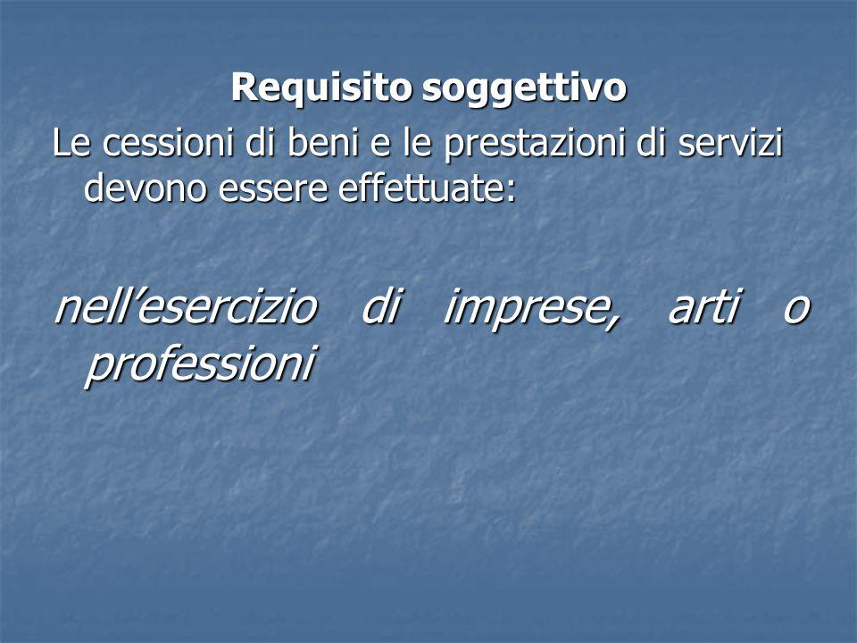 Requisito soggettivo Le cessioni di beni e le prestazioni di servizi devono essere effettuate: nellesercizio di imprese, arti o professioni