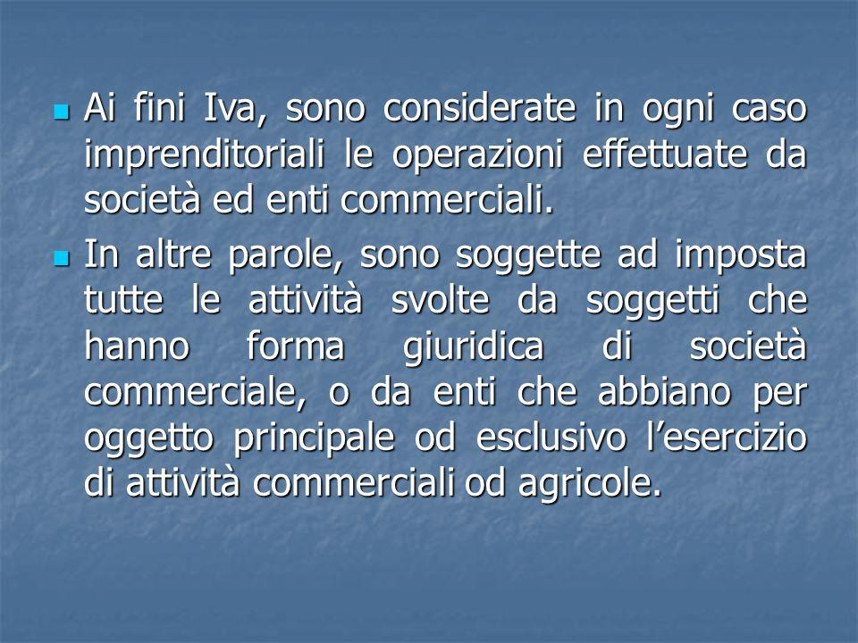 Ai fini Iva, sono considerate in ogni caso imprenditoriali le operazioni effettuate da società ed enti commerciali.