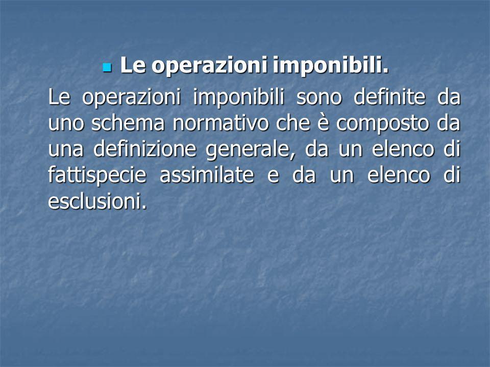 Le operazioni imponibili. Le operazioni imponibili. Le operazioni imponibili sono definite da uno schema normativo che è composto da una definizione g