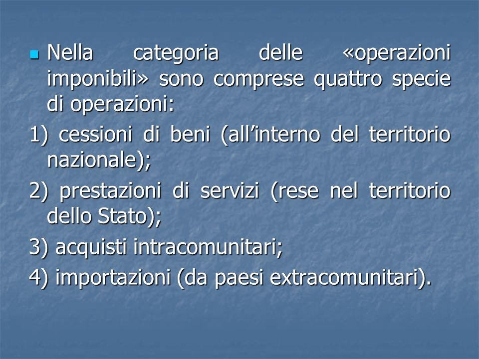 Nella categoria delle «operazioni imponibili» sono comprese quattro specie di operazioni: Nella categoria delle «operazioni imponibili» sono comprese quattro specie di operazioni: 1) cessioni di beni (allinterno del territorio nazionale); 2) prestazioni di servizi (rese nel territorio dello Stato); 3) acquisti intracomunitari; 4) importazioni (da paesi extracomunitari).
