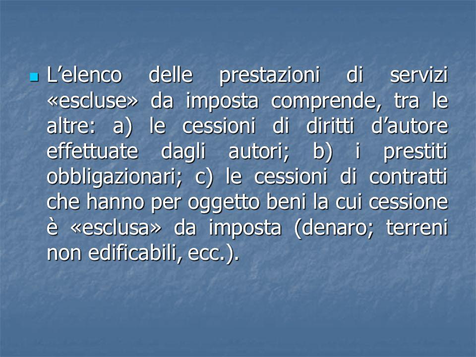Lelenco delle prestazioni di servizi «escluse» da imposta comprende, tra le altre: a) le cessioni di diritti dautore effettuate dagli autori; b) i pre