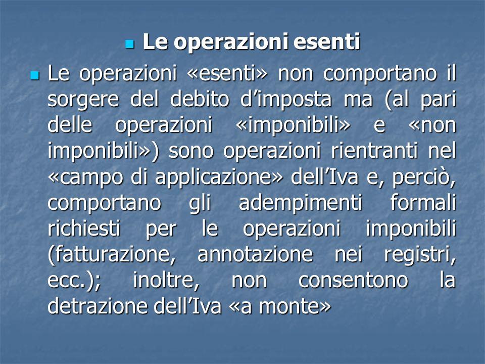Le operazioni esenti Le operazioni esenti Le operazioni «esenti» non comportano il sorgere del debito dimposta ma (al pari delle operazioni «imponibil