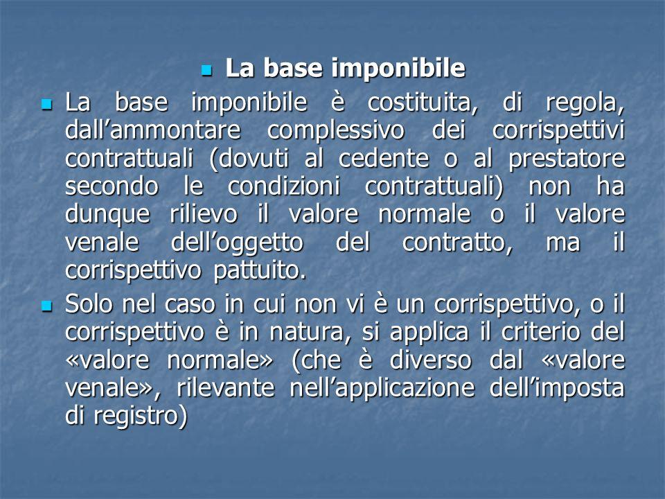 La base imponibile La base imponibile La base imponibile è costituita, di regola, dallammontare complessivo dei corrispettivi contrattuali (dovuti al