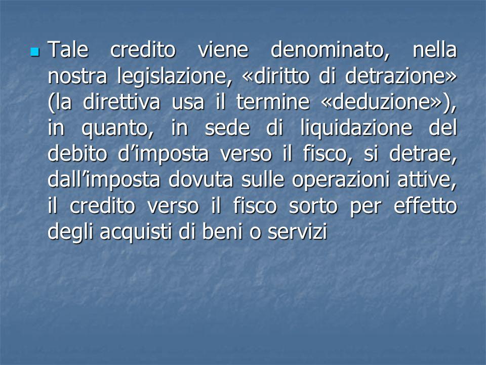 Tale credito viene denominato, nella nostra legislazione, «diritto di detrazione» (la direttiva usa il termine «deduzione»), in quanto, in sede di liq
