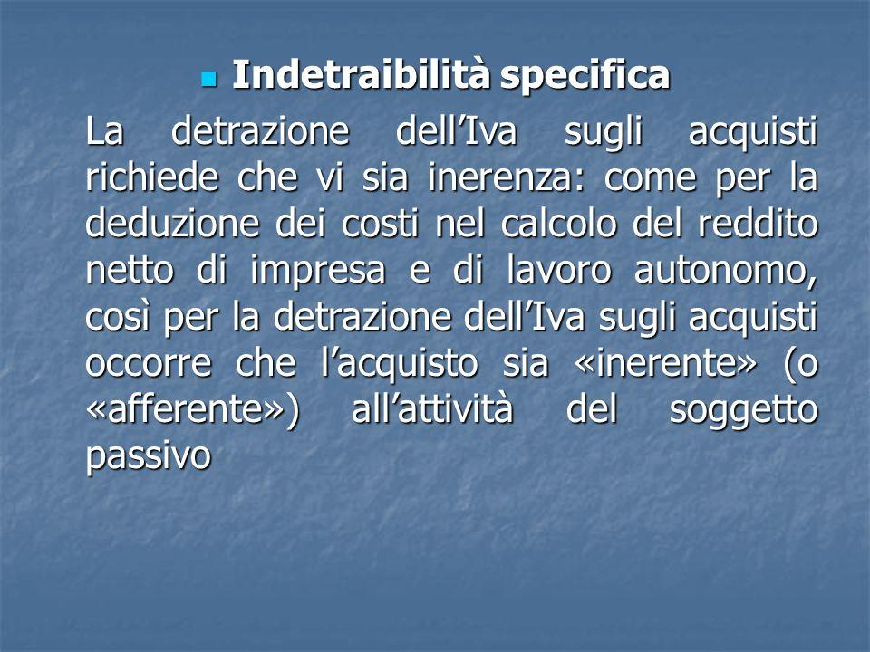 Indetraibilità specifica Indetraibilità specifica La detrazione dellIva sugli acquisti richiede che vi sia inerenza: come per la deduzione dei costi n