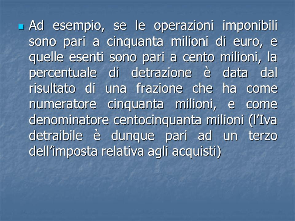 Ad esempio, se le operazioni imponibili sono pari a cinquanta milioni di euro, e quelle esenti sono pari a cento milioni, la percentuale di detrazione