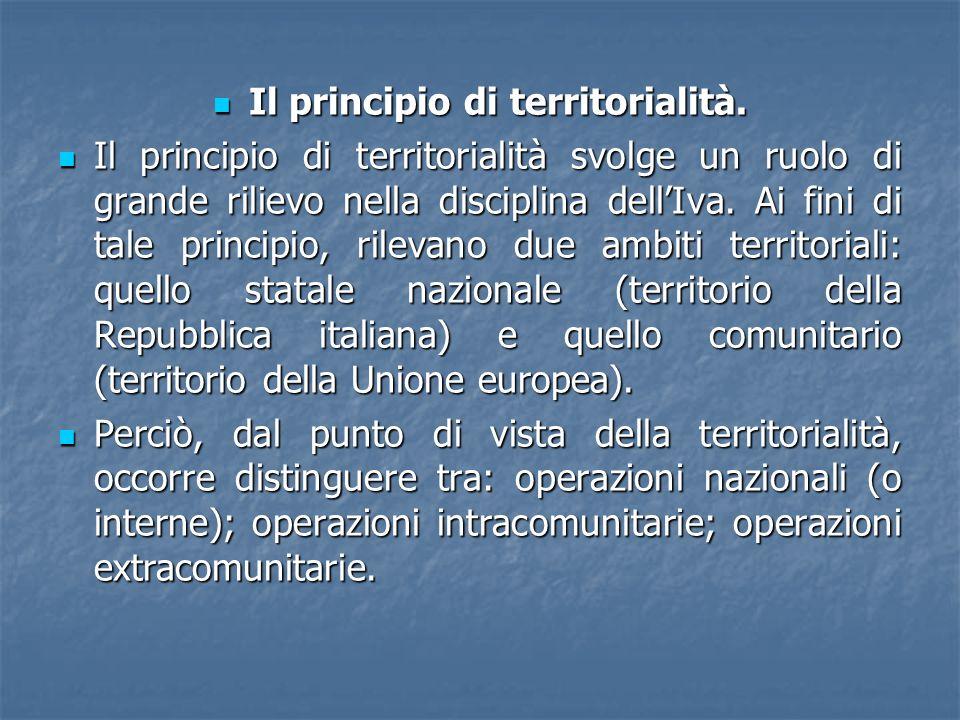 Il principio di territorialità. Il principio di territorialità. Il principio di territorialità svolge un ruolo di grande rilievo nella disciplina dell