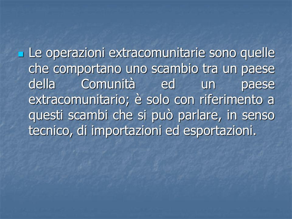Le operazioni extracomunitarie sono quelle che comportano uno scambio tra un paese della Comunità ed un paese extracomunitario; è solo con riferimento a questi scambi che si può parlare, in senso tecnico, di importazioni ed esportazioni.