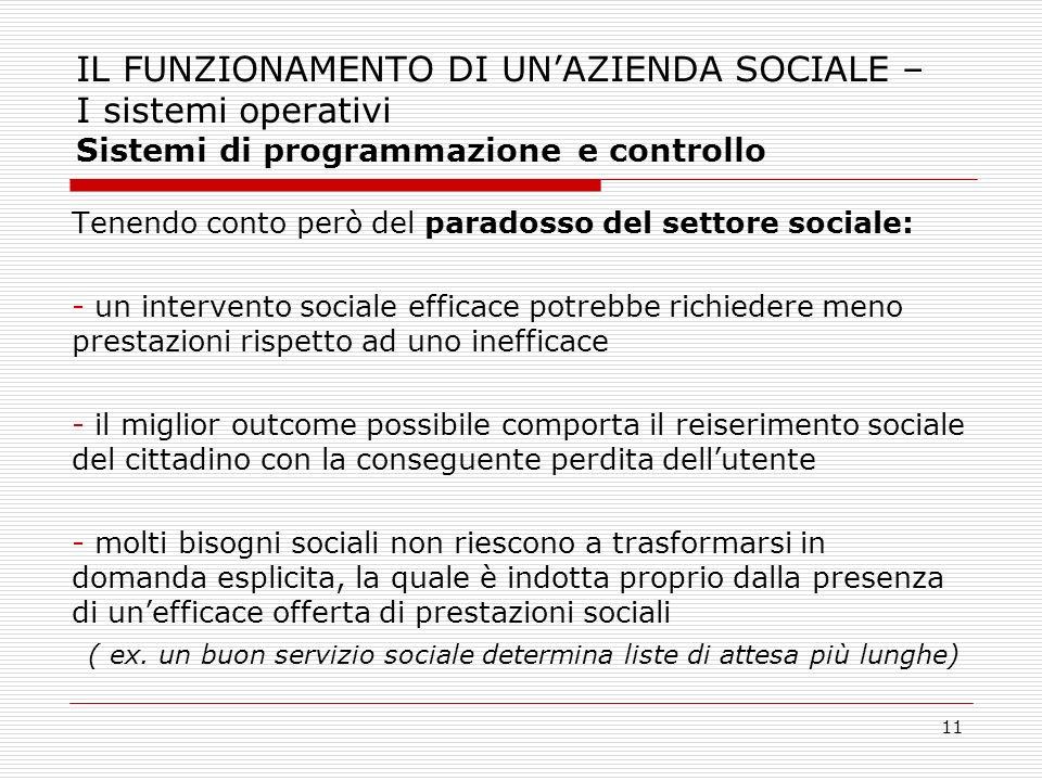 11 IL FUNZIONAMENTO DI UNAZIENDA SOCIALE – I sistemi operativi Sistemi di programmazione e controllo Tenendo conto però del paradosso del settore soci