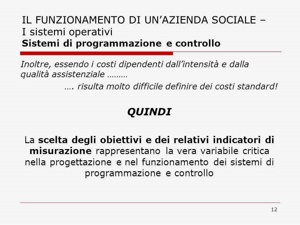 12 IL FUNZIONAMENTO DI UNAZIENDA SOCIALE – I sistemi operativi Sistemi di programmazione e controllo Inoltre, essendo i costi dipendenti dallintensità