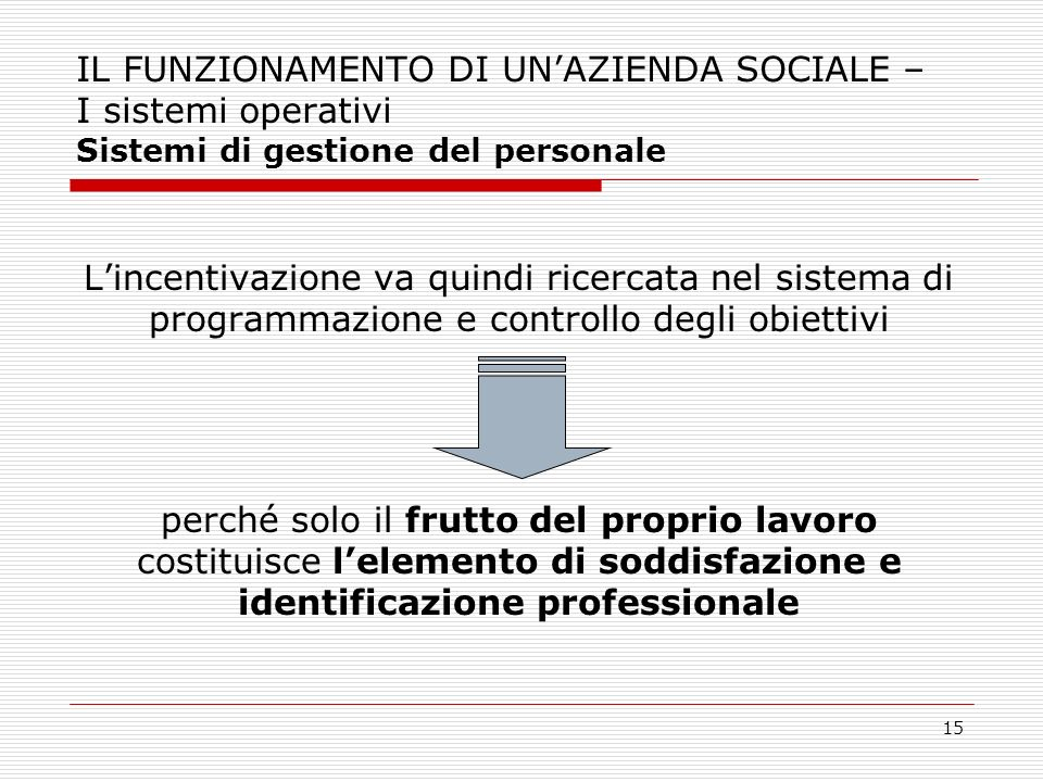 15 IL FUNZIONAMENTO DI UNAZIENDA SOCIALE – I sistemi operativi Sistemi di gestione del personale Lincentivazione va quindi ricercata nel sistema di pr