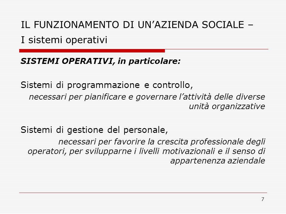 7 IL FUNZIONAMENTO DI UNAZIENDA SOCIALE – I sistemi operativi SISTEMI OPERATIVI, in particolare: Sistemi di programmazione e controllo, necessari per