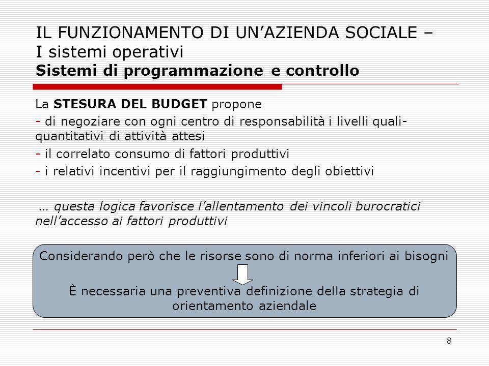 8 IL FUNZIONAMENTO DI UNAZIENDA SOCIALE – I sistemi operativi Sistemi di programmazione e controllo La STESURA DEL BUDGET propone - di negoziare con o