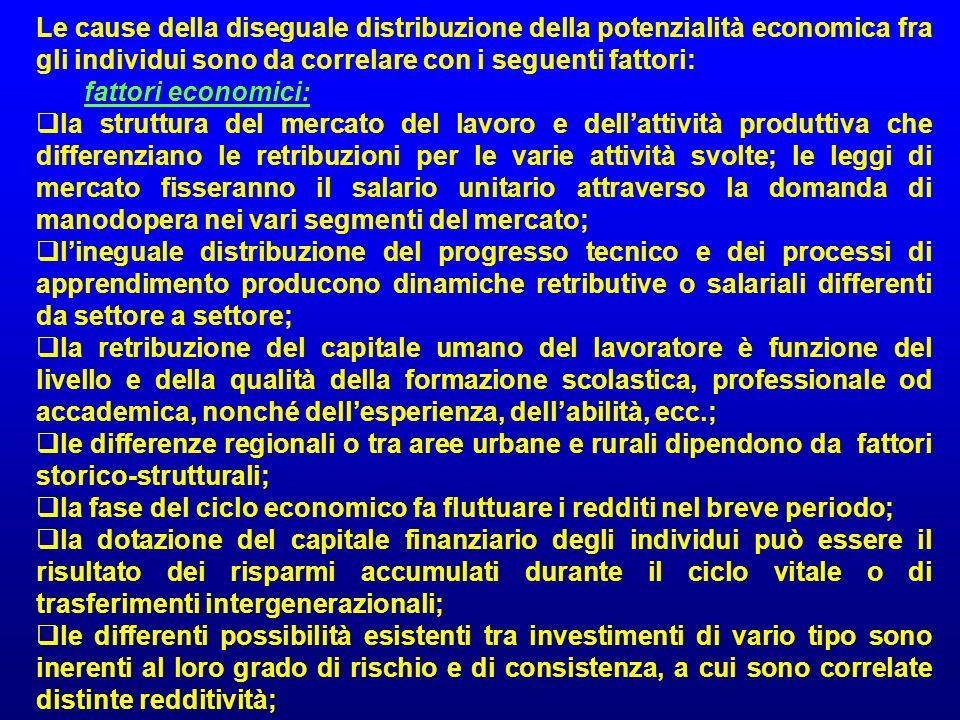 Le cause della diseguale distribuzione della potenzialità economica fra gli individui sono da correlare con i seguenti fattori: fattori economici: la