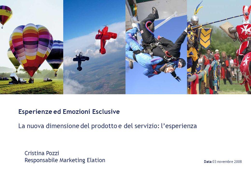 Data 03 novembre 2008 Cristina Pozzi Responsabile Marketing Elation Esperienze ed Emozioni Esclusive La nuova dimensione del prodotto e del servizio: lesperienza