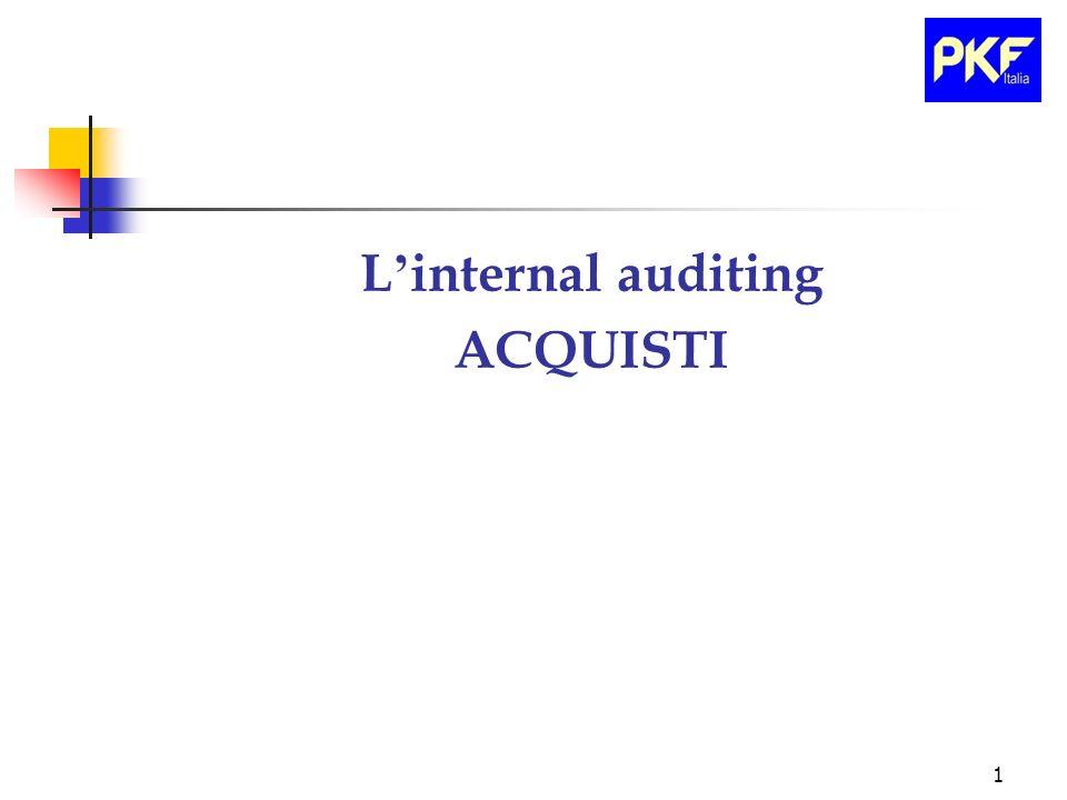 12 Azione dell Internal Audit sulla Funzione Acquisti Sara il risk management che dovra definire di quale intensita di rischio si tratta rimanere senza materiali e come gestire l evento negativo.