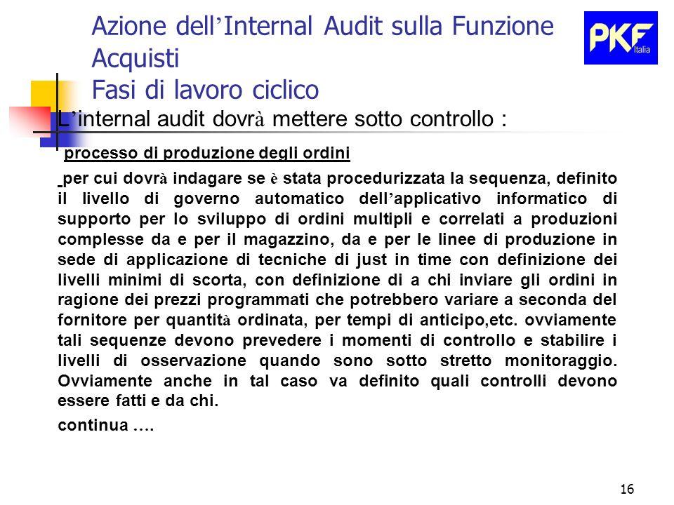 16 Azione dell Internal Audit sulla Funzione Acquisti Fasi di lavoro ciclico L internal audit dovr à mettere sotto controllo : processo di produzione