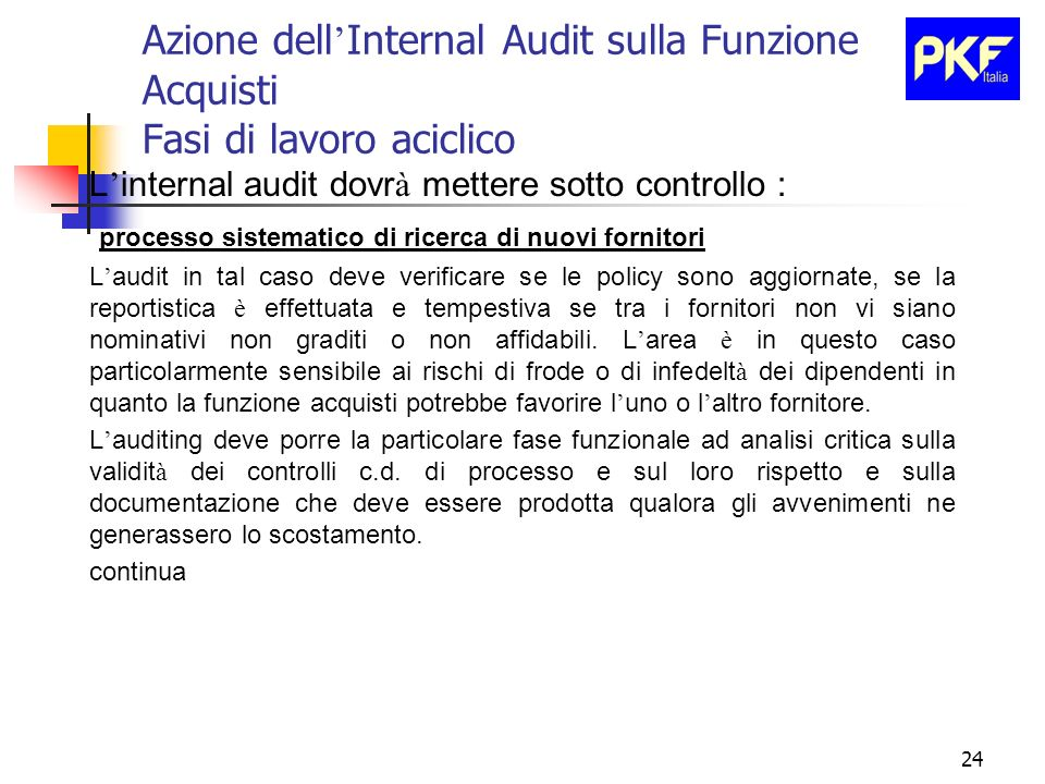 24 Azione dell Internal Audit sulla Funzione Acquisti Fasi di lavoro aciclico L internal audit dovr à mettere sotto controllo : processo sistematico d