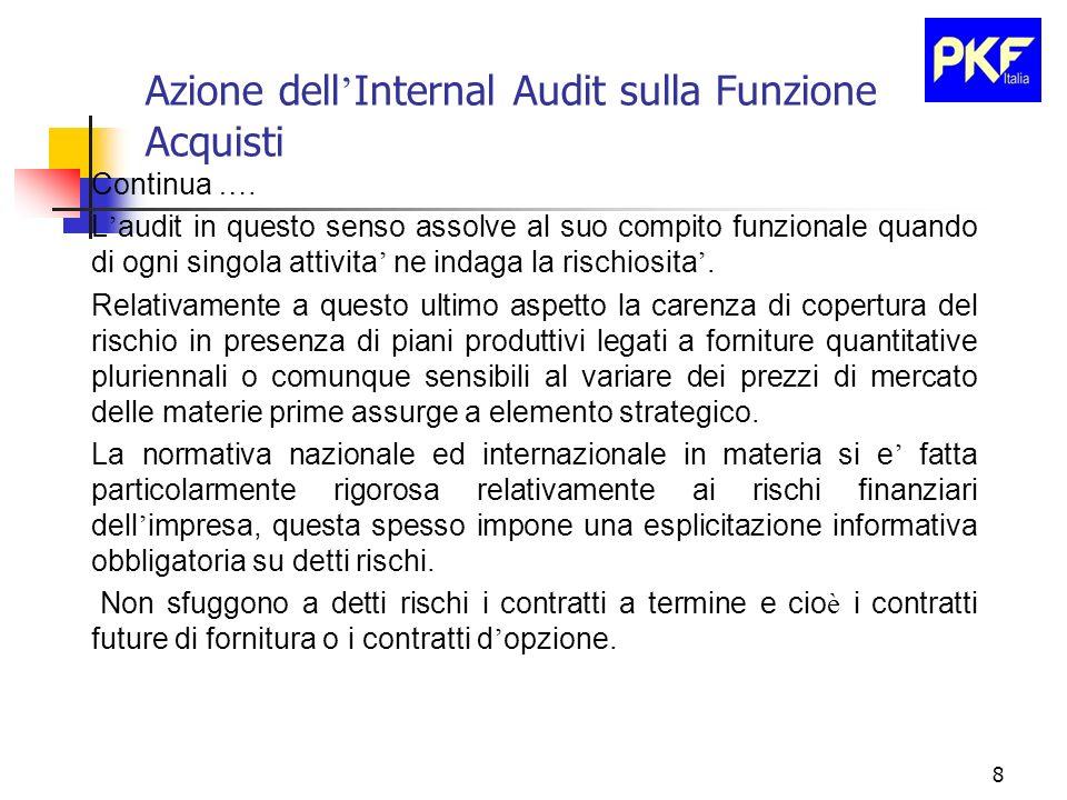 8 Azione dell Internal Audit sulla Funzione Acquisti Continua …. L audit in questo senso assolve al suo compito funzionale quando di ogni singola atti
