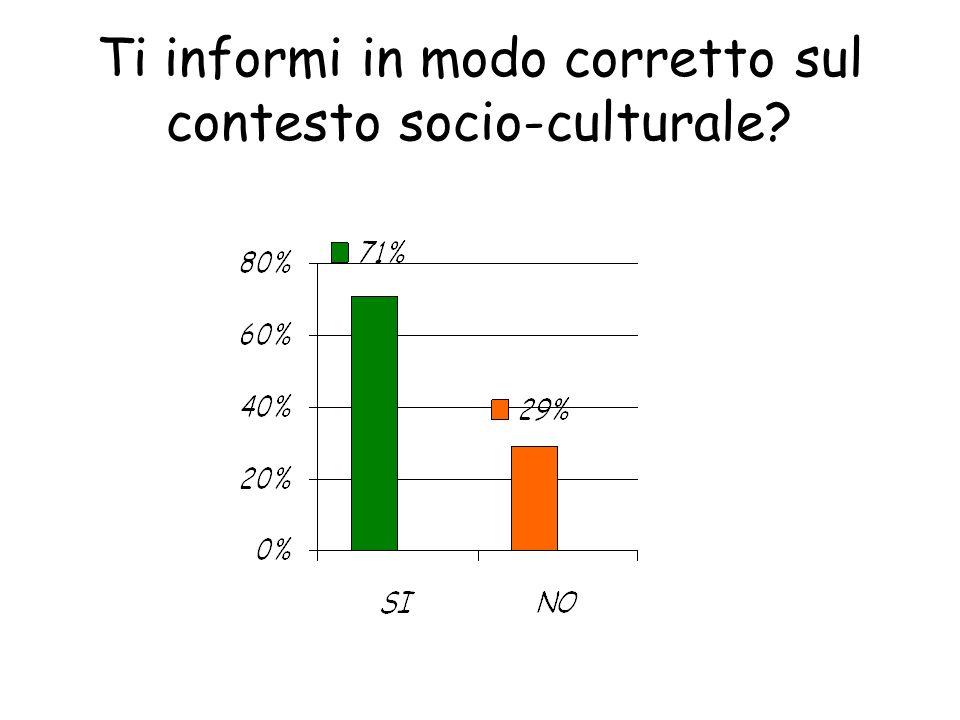 Ti informi in modo corretto sul contesto socio-culturale?
