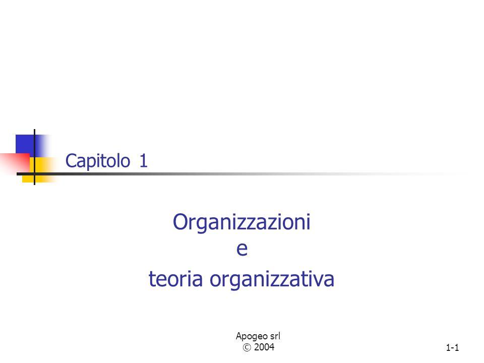 Apogeo srl © 20041-1 Capitolo 1 Organizzazioni e teoria organizzativa