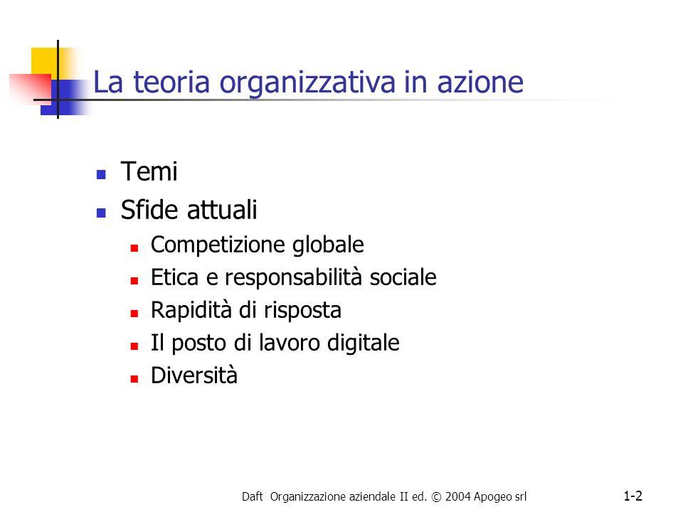 Daft Organizzazione aziendale II ed. © 2004 Apogeo srl 1-2 La teoria organizzativa in azione Temi Sfide attuali Competizione globale Etica e responsab