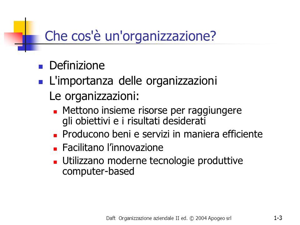 Daft Organizzazione aziendale II ed. © 2004 Apogeo srl 1-3 Che cos'è un'organizzazione? Definizione L'importanza delle organizzazioni Le organizzazion