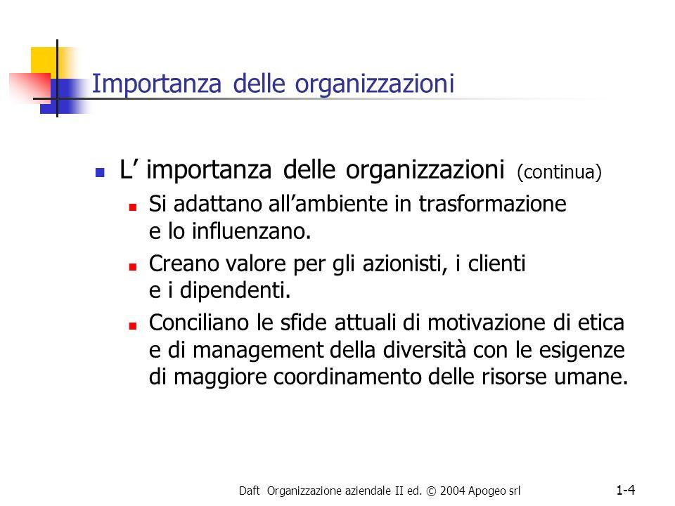 Daft Organizzazione aziendale II ed. © 2004 Apogeo srl 1-4 Importanza delle organizzazioni L importanza delle organizzazioni (continua) Si adattano al