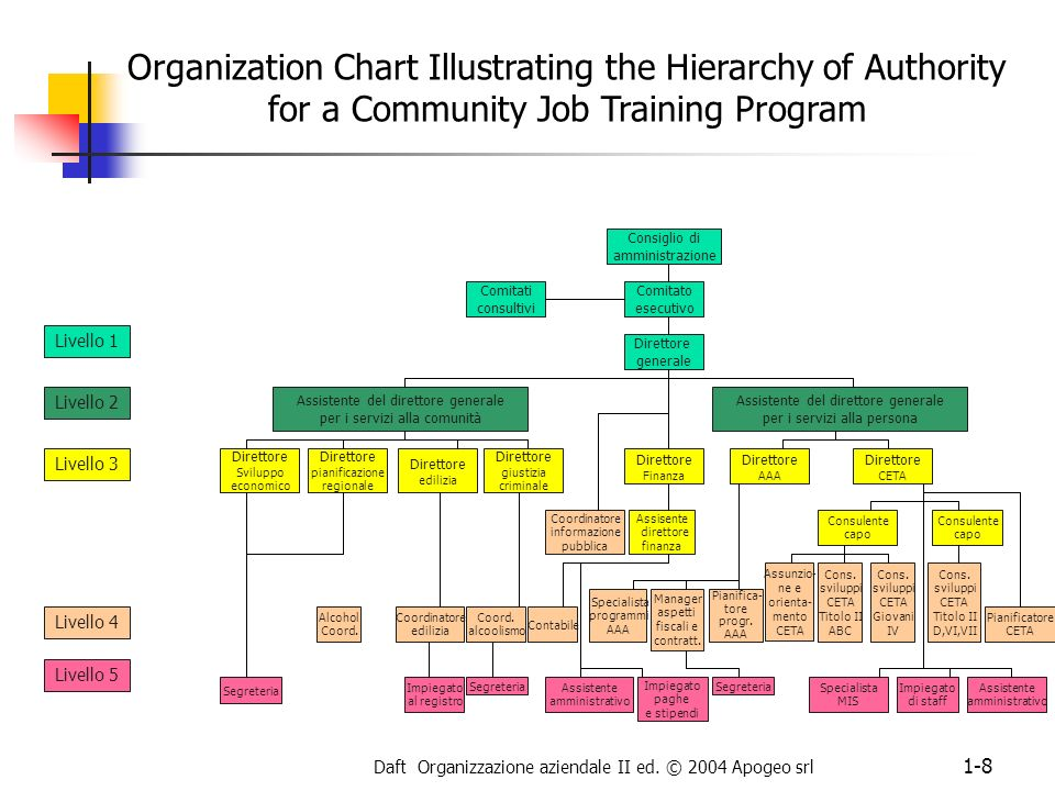 Daft Organizzazione aziendale II ed. © 2004 Apogeo srl 1-8 Organization Chart Illustrating the Hierarchy of Authority for a Community Job Training Pro