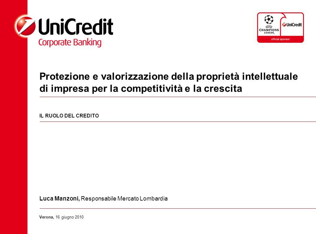 Protezione e valorizzazione della proprietà intellettuale di impresa per la competitività e la crescita IL RUOLO DEL CREDITO Luca Manzoni, Responsabil