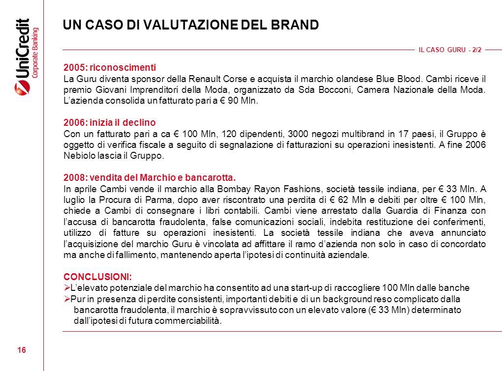 16 UN CASO DI VALUTAZIONE DEL BRAND IL CASO GURU - 2/2 2005: riconoscimenti La Guru diventa sponsor della Renault Corse e acquista il marchio olandese