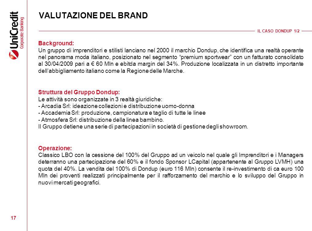 17 VALUTAZIONE DEL BRAND IL CASO DONDUP 1/2 Background: Un gruppo di imprenditori e stilisti lanciano nel 2000 il marchio Dondup, che identifica una r