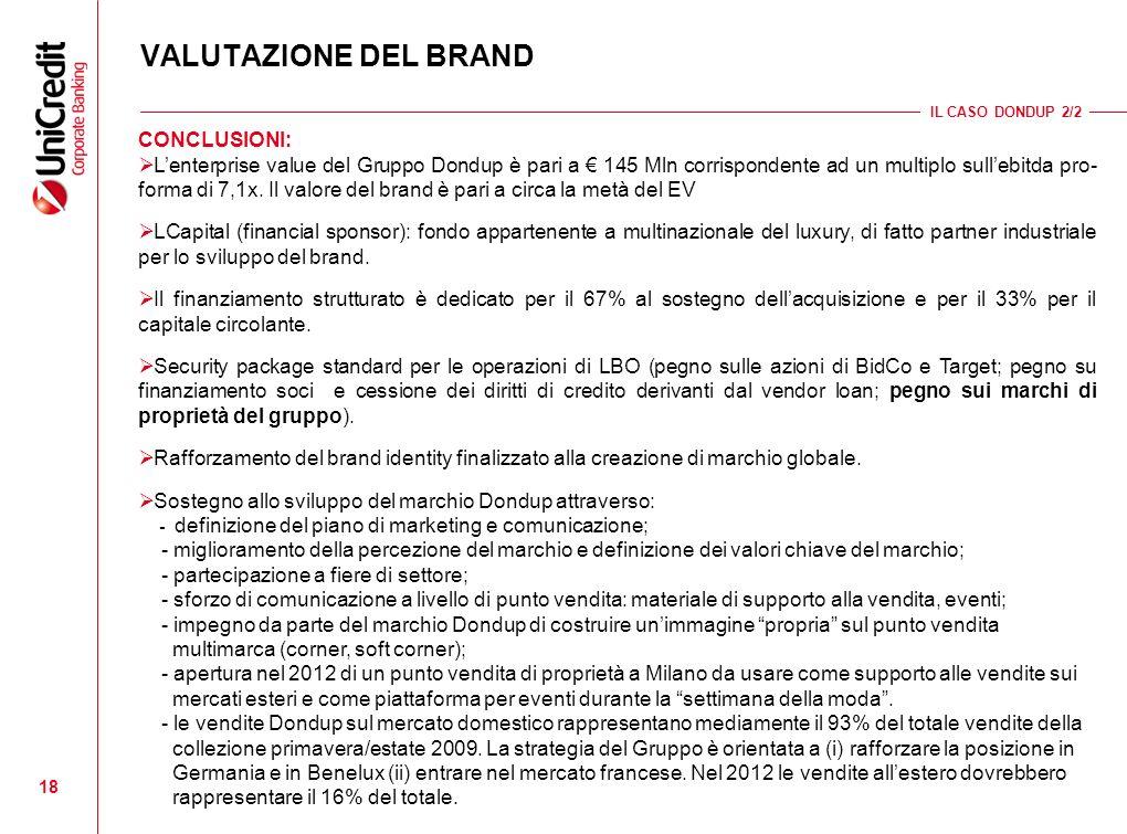 18 VALUTAZIONE DEL BRAND IL CASO DONDUP 2/2 CONCLUSIONI: Lenterprise value del Gruppo Dondup è pari a 145 Mln corrispondente ad un multiplo sullebitda