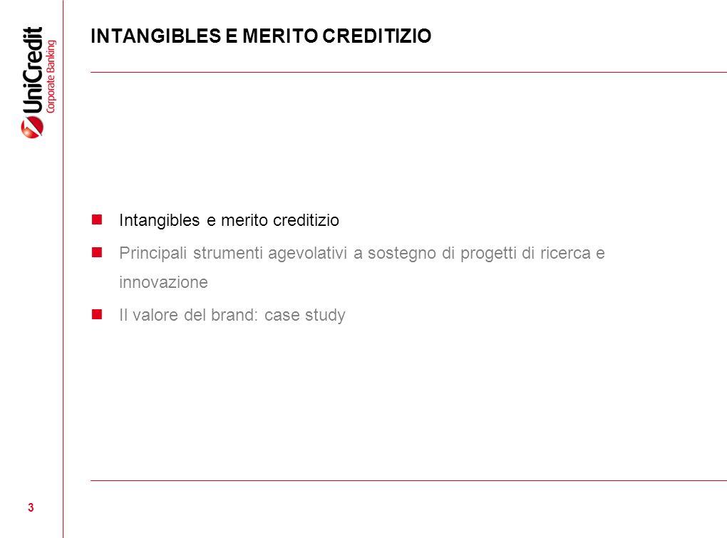 3 INTANGIBLES E MERITO CREDITIZIO Intangibles e merito creditizio Principali strumenti agevolativi a sostegno di progetti di ricerca e innovazione Il
