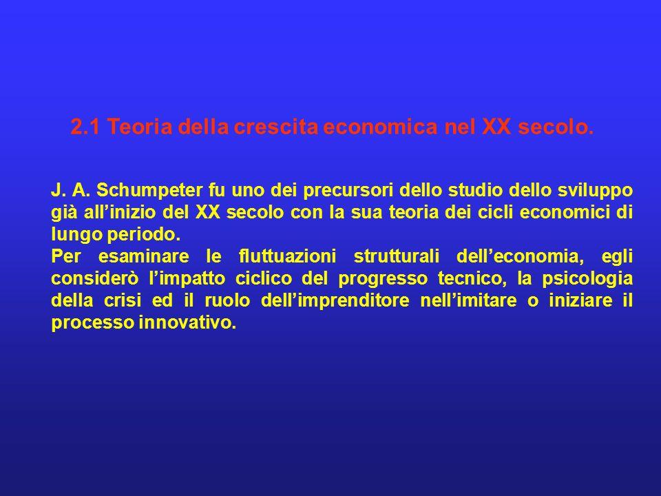 2.1 Teoria della crescita economica nel XX secolo. J. A. Schumpeter fu uno dei precursori dello studio dello sviluppo già allinizio del XX secolo con
