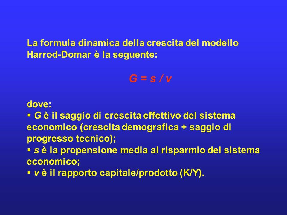 La formula dinamica della crescita del modello Harrod-Domar è la seguente: G = s / v dove: G è il saggio di crescita effettivo del sistema economico (