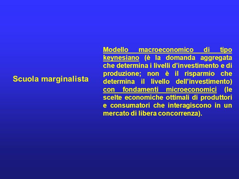 Scuola marginalista Modello macroeconomico di tipo keynesiano (è la domanda aggregata che determina i livelli dinvestimento e di produzione; non è il