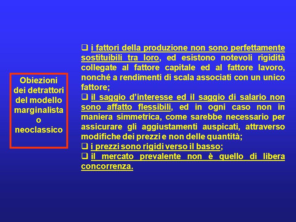 Obiezioni dei detrattori del modello marginalista o neoclassico i fattori della produzione non sono perfettamente sostituibili tra loro, ed esistono n