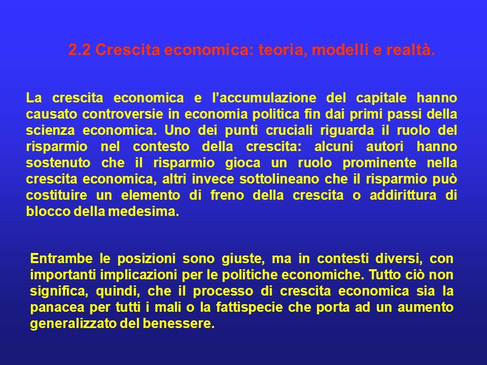 2.2 Crescita economica: teoria, modelli e realtà. La crescita economica e laccumulazione del capitale hanno causato controversie in economia politica