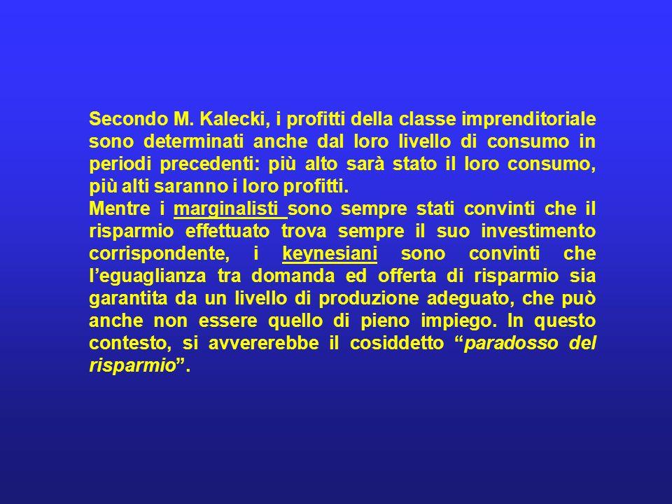 Secondo M. Kalecki, i profitti della classe imprenditoriale sono determinati anche dal loro livello di consumo in periodi precedenti: più alto sarà st