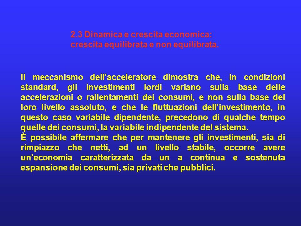 2.3 Dinamica e crescita economica: crescita equilibrata e non equilibrata. Il meccanismo dellacceleratore dimostra che, in condizioni standard, gli in