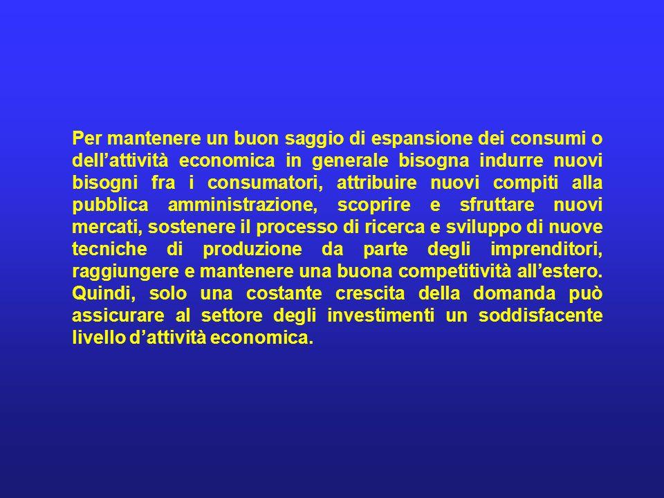 Per mantenere un buon saggio di espansione dei consumi o dellattività economica in generale bisogna indurre nuovi bisogni fra i consumatori, attribuir