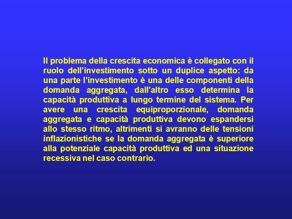 Il problema della crescita economica è collegato con il ruolo dellinvestimento sotto un duplice aspetto: da una parte linvestimento è una delle compon