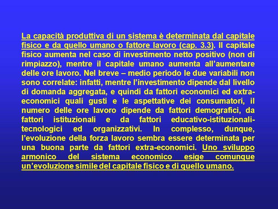 La capacità produttiva di un sistema è determinata dal capitale fisico e da quello umano o fattore lavoro (cap. 3.3). Il capitale fisico aumenta nel c