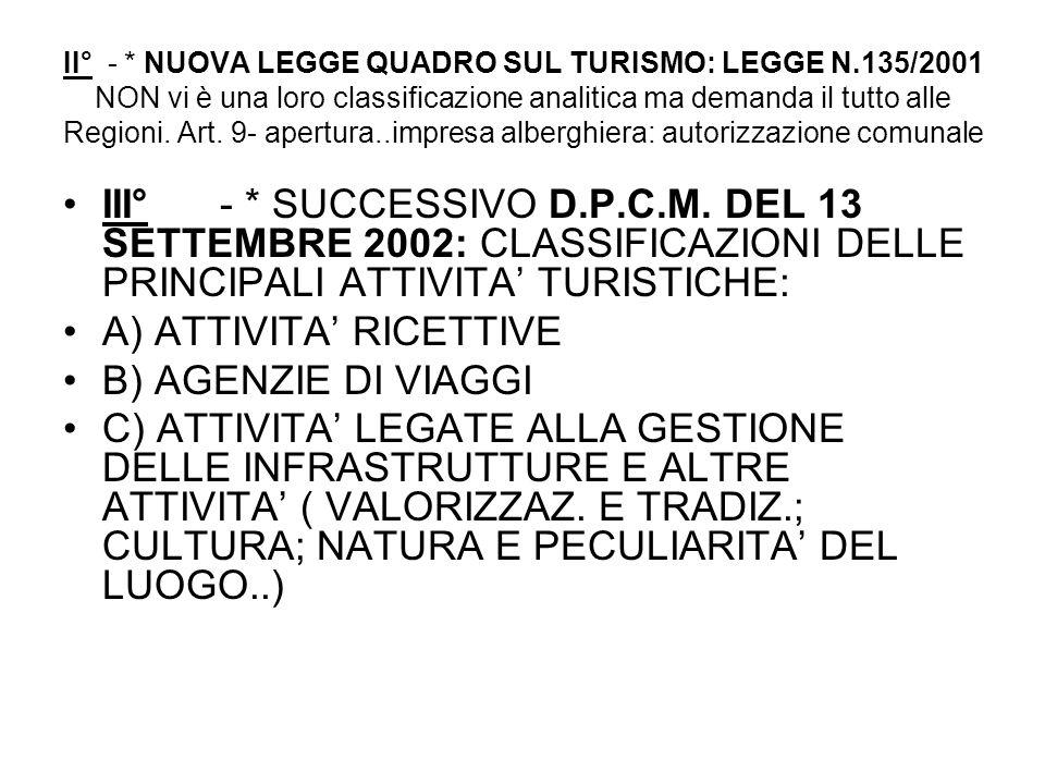 II° - * NUOVA LEGGE QUADRO SUL TURISMO: LEGGE N.135/2001 NON vi è una loro classificazione analitica ma demanda il tutto alle Regioni. Art. 9- apertur