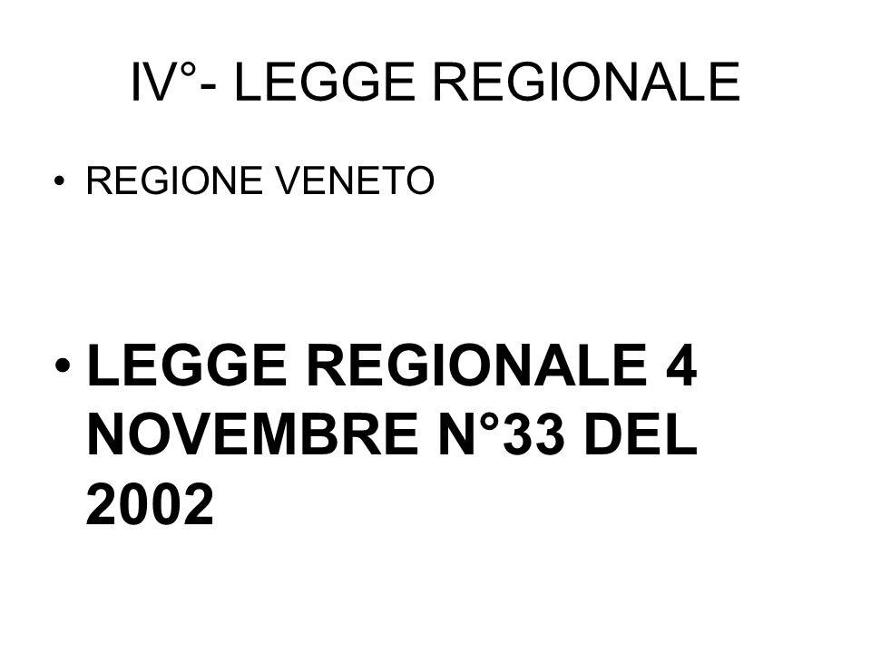 IV°- LEGGE REGIONALE REGIONE VENETO LEGGE REGIONALE 4 NOVEMBRE N°33 DEL 2002
