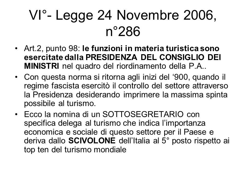 VI°- Legge 24 Novembre 2006, n°286 Art.2, punto 98: le funzioni in materia turistica sono esercitate dalla PRESIDENZA DEL CONSIGLIO DEI MINISTRI nel q