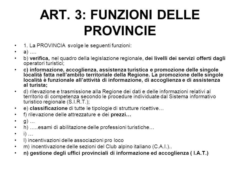 ART. 3: FUNZIONI DELLE PROVINCIE 1. La PROVINCIA svolge le seguenti funzioni: a) …. b) verifica, nel quadro della legislazione regionale, dei livelli